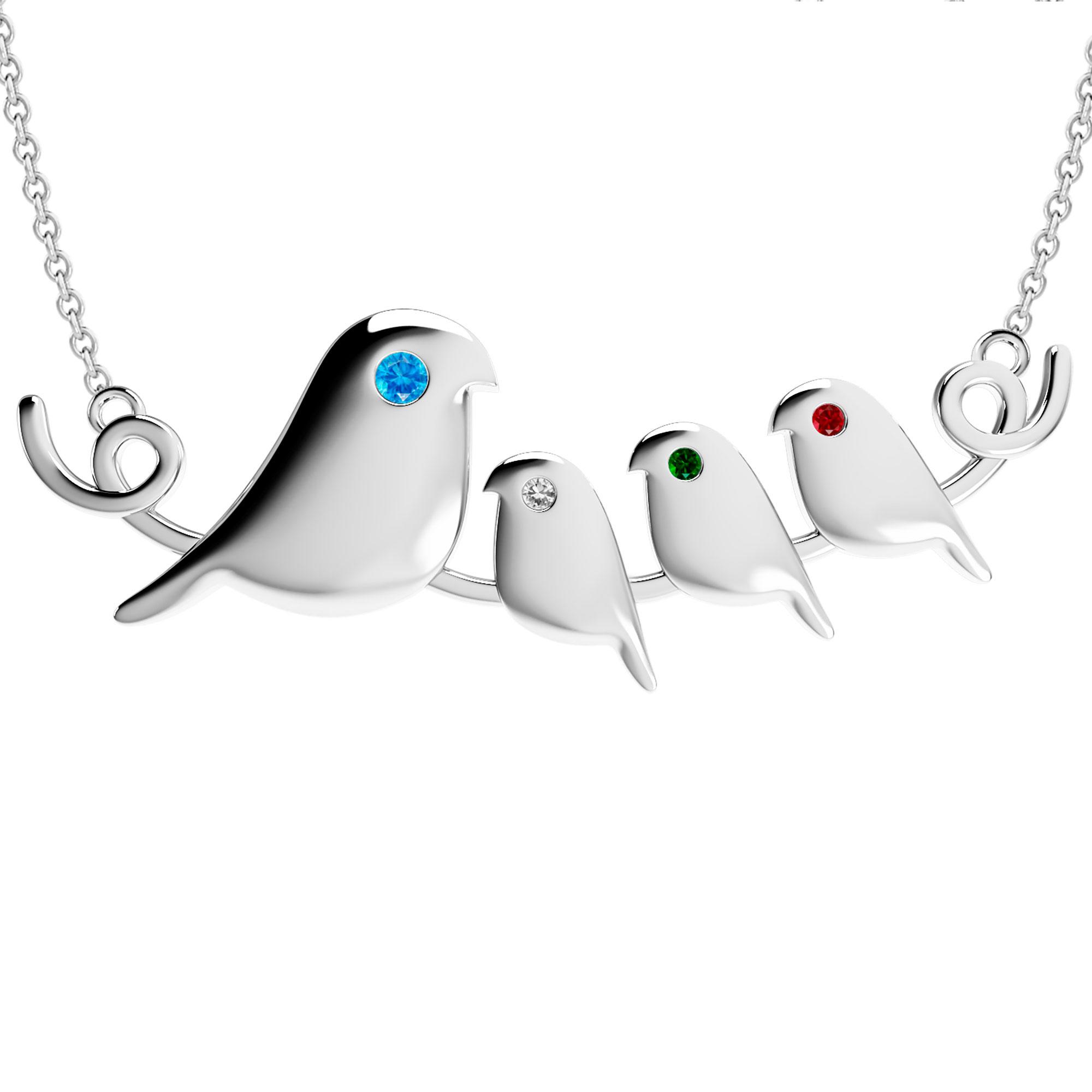 Mother's Custom Birthstone Birds on Branch Family Necklace (2-4 Gemstones)