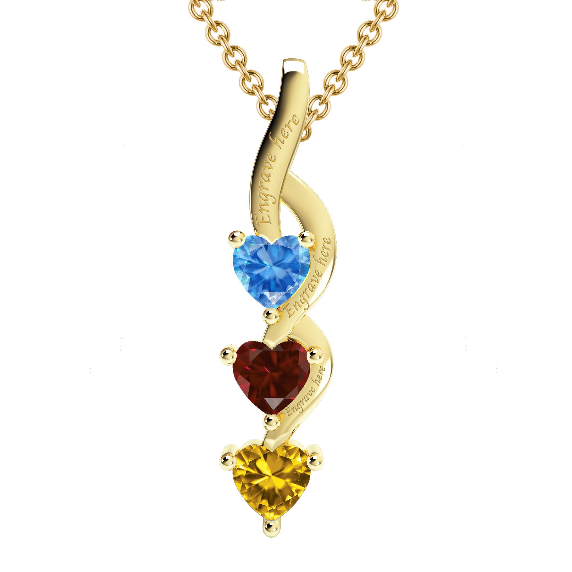 Mother's Custom Birthstone Cascading Hearts Family Pendant Necklace (1-3 Gemstones)