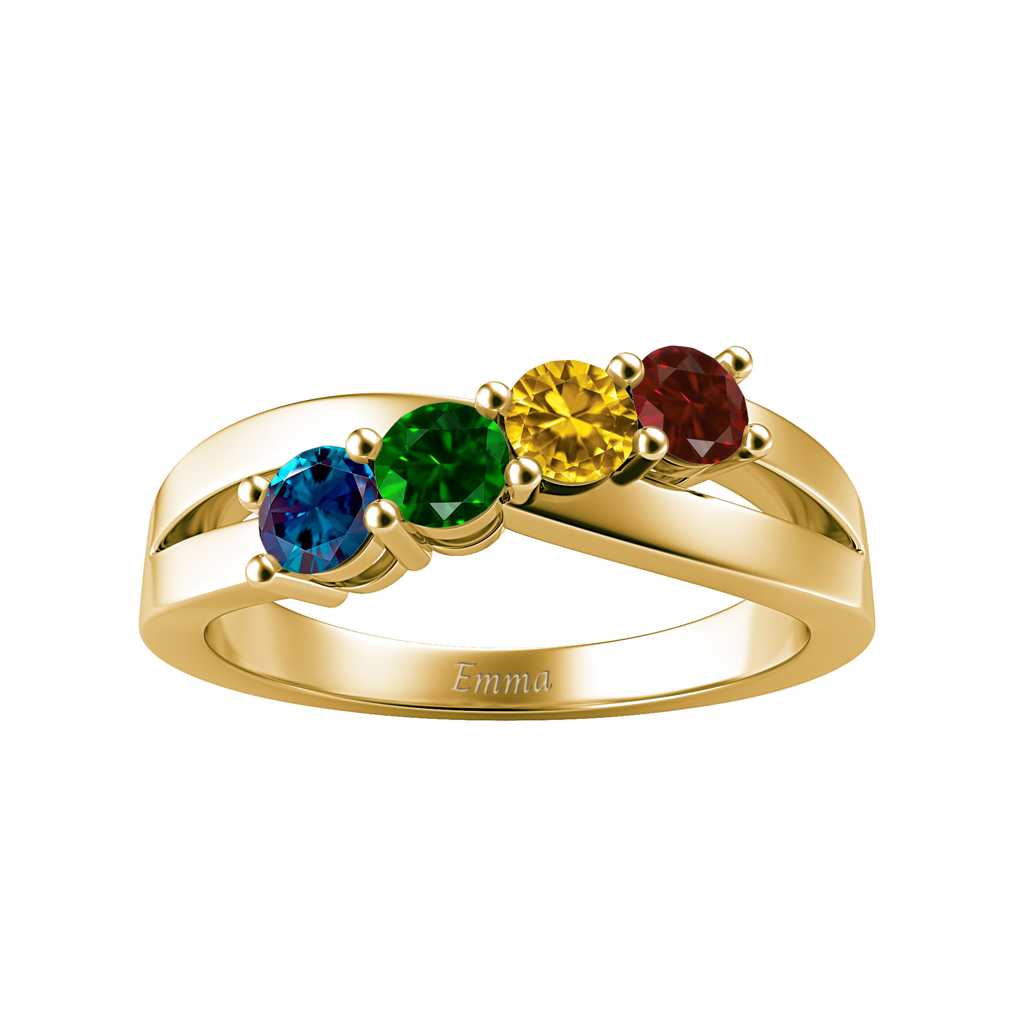Mother's Custom Birthstone Crossover Engravable Family Ring (2-4 Gemstones)