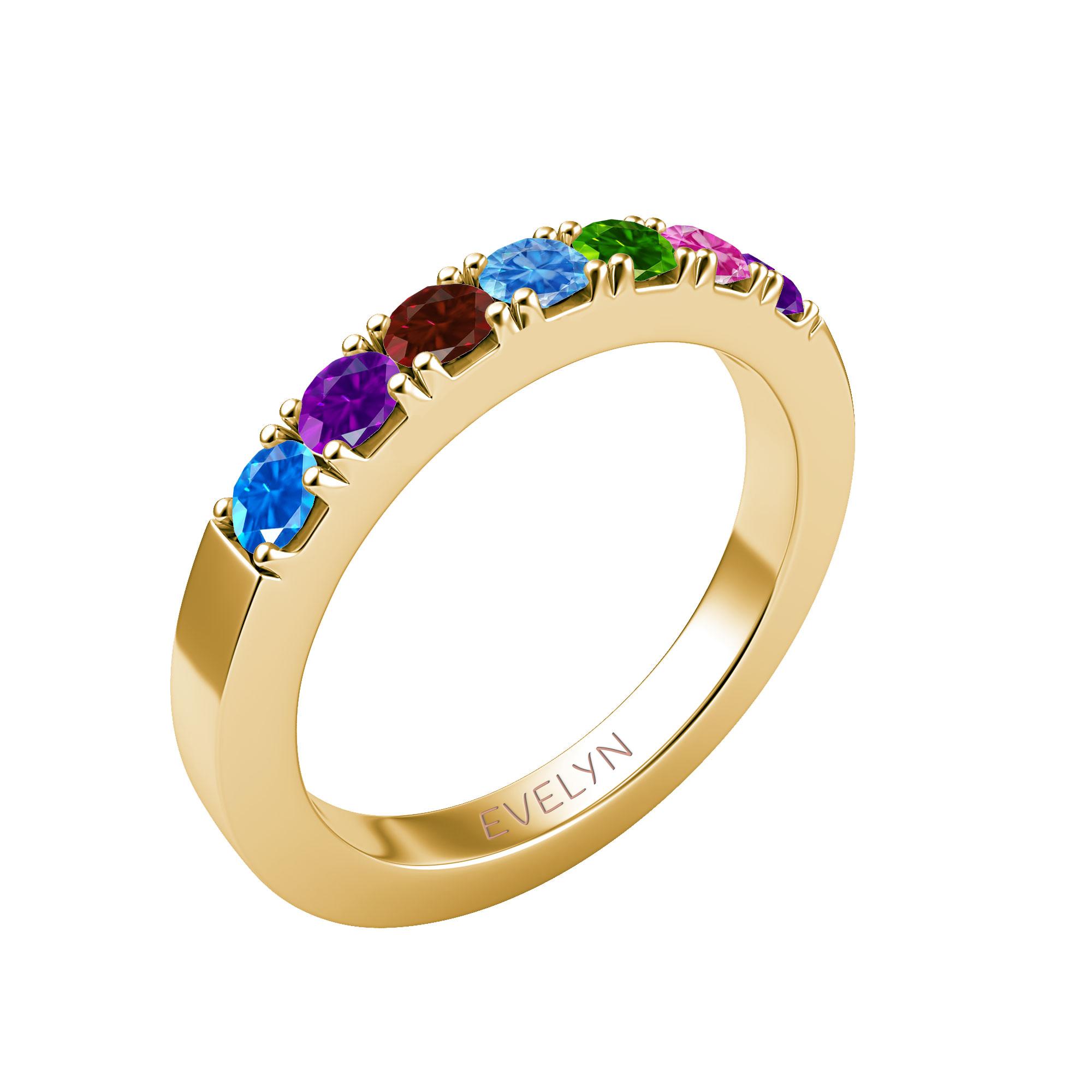Mother's Custom Birthstone Engravable Family Ring (2-6 Gemstones)