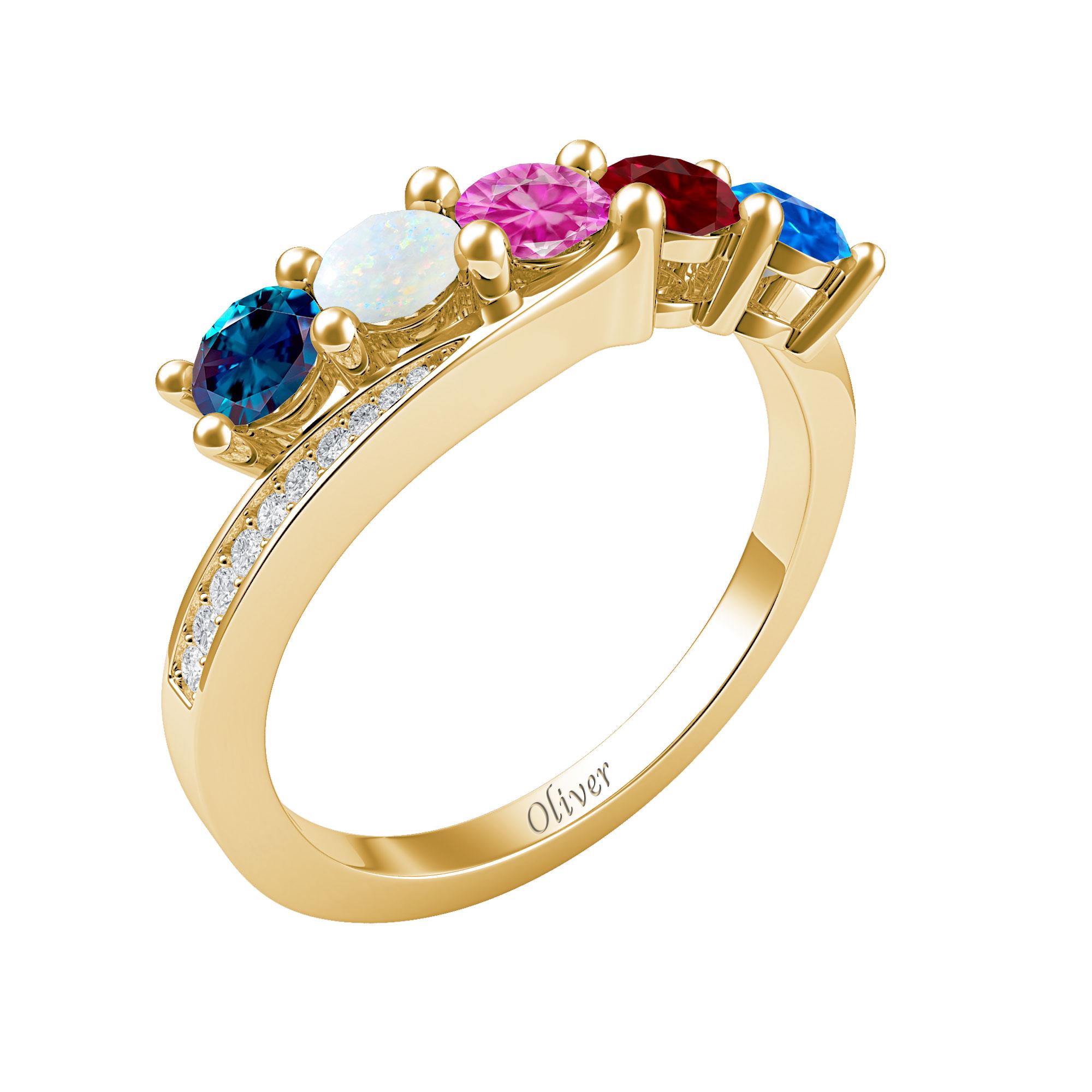 Mother's Custom Birthstone Bypass Engravable Family Ring (2-5 Gemstones)